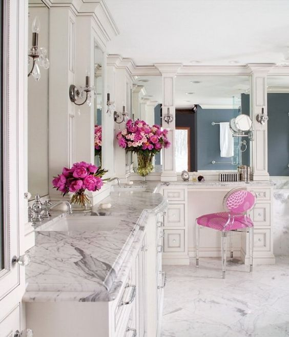 Gorgeous bathroom with marble counters