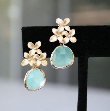Cherry Blossom and Aqua Earrings in Gold by BellaJewelsInc on Etsy, $28.00