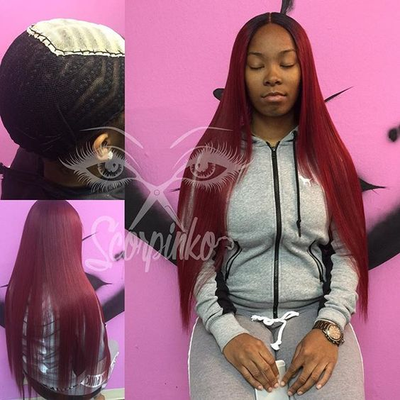 Happy Birthday Lace Closure Sew In (Hair Purchased, Custom colored, and Installed) (78...