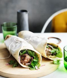 Lamb kofta wraps with parsley and onion salad :: Gourmet Traveller Magazine Mobile