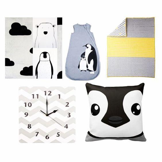 A penguin themed nursery: black and white nursery art from ebabee , @weeurban cozy basics penguin sleep bag, @thelandofnod yellow peep bedding, chevron wall clock from @kohls penguin pillow from @zazzle