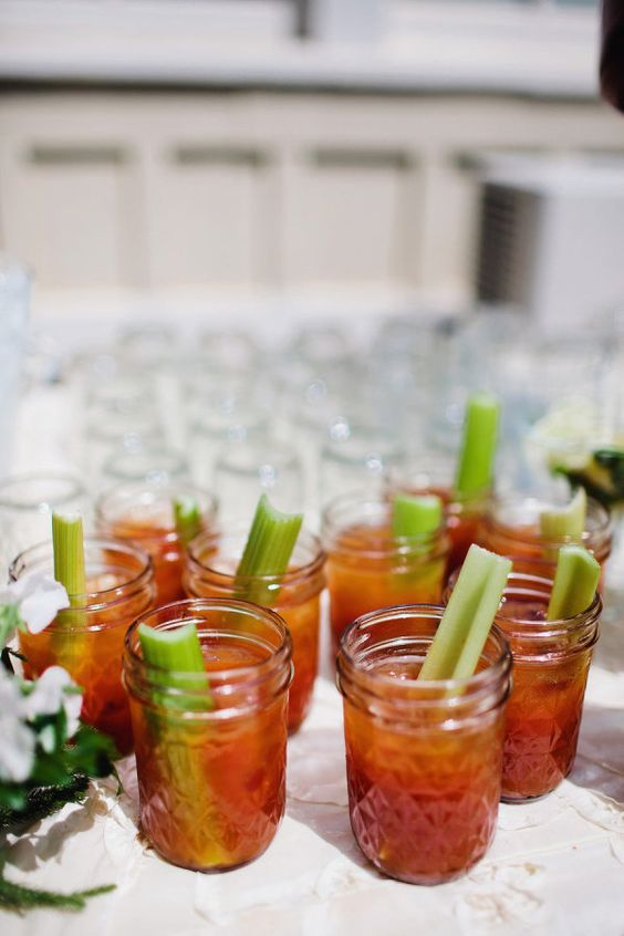 Complimentary Bloody Mary's in Mason Jars for the morning after BBQ/Brunch...: Drinks Cocktails, A Mason Jar, Small Mason Jars, Marys Brunch, Alcoholic Drinks, Wedding Drinks, Bloody Mary, Jar Drinks, Drinks Ideas