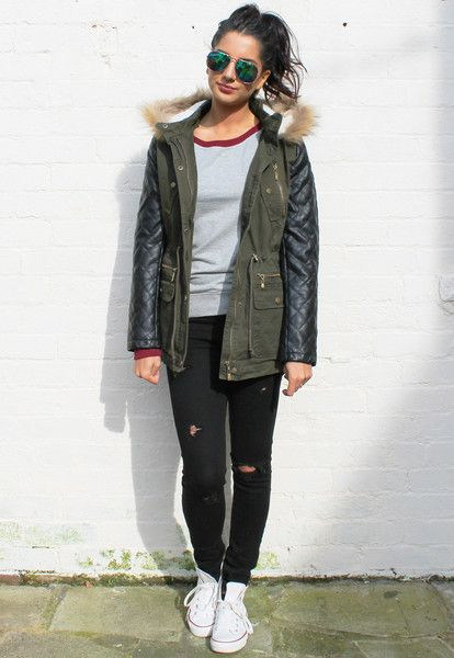 Rose Quilted Leather Look Sleeve Parka Coat with Fur Trim Hood in