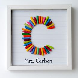 Think I may use all those broken crayons and have the students create art work with the first letter is their name.