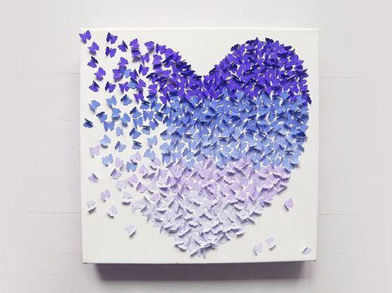 Tutoriel DIY: Faire un tableau 3D en papillons de papier via DaWanda.com