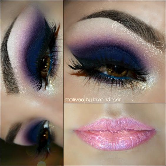 Pair light pink lips with dark blue and purple eyes for ...