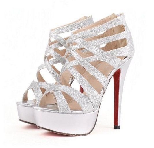 Metallic Silver Strappy High Heel Pumps on Luulla | Fashion ...