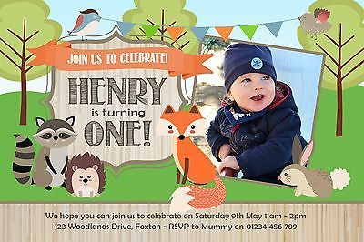 10 PERSONALISED BIRTHDAY PARTY INVITATIONS - WOODLAND FOREST FOX  ANIMALS