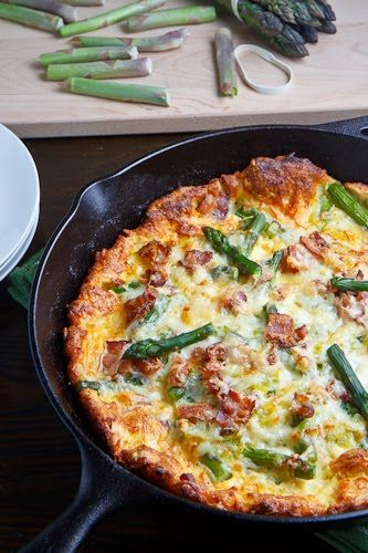 Asparagus and Double Smoked Bacon Popover. A Double Smoked Yum's Up! from Lodge Cast Iron!!