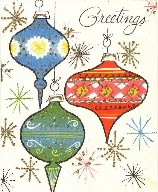 Vintage Christmas card - 1950s glittery orns
