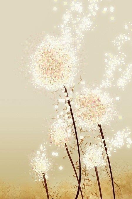 Perennial Moment (gold) - 12x18 Art Print - Dandelion Art.  via Etsy.