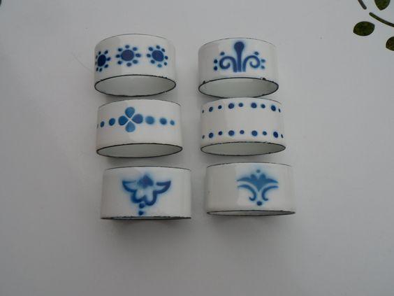 6 Napkin Rings Blue and White Enamel Napkin Holders French Vintage Set of 6 Napkin Rings/Holders by VintageFrenchStore on Etsy