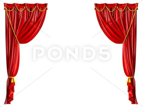 Realistic Theater Curtain Stock Illustration Ad Theater