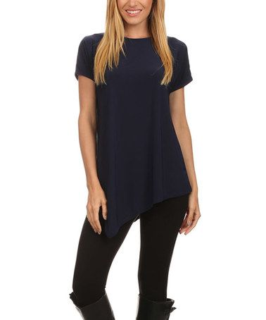 Another great find on #zulily! Navy Asymmetrical Hem Crewneck Tunic #zulilyfinds