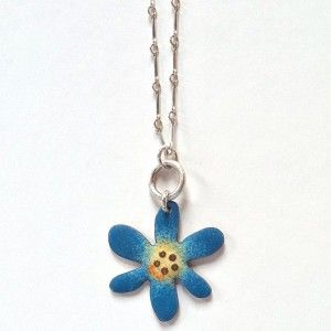 Enameled Blue Flower Necklace