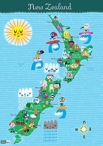 Use this fun and colorful map of New Zealand to teach your kids about all its famous destinations.- Little Passports #littlepassports #newzealand #newzealandmap