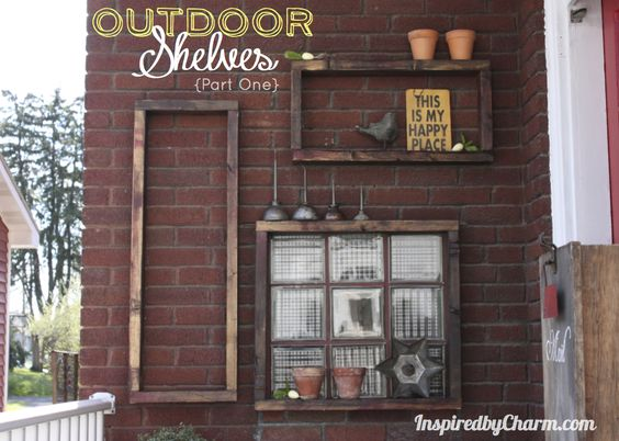 Gorgeous DIY outdoor shelves made from scrap 2x4s. Totally looks like reclaimed lumber! Full tutorial at Inspired by Charm.
