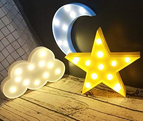 Amazon Com Decorative Led Crescent Moon Cloud And Star Night Lights Lamps Marquee Signs Letters For Star Night Light Nursery Night Light Marquee Sign Letters