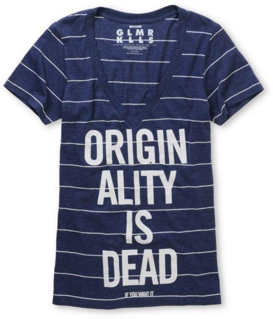 Glamour Kills Yon And Joko Navy Stripe V-Neck Tee Shirt
