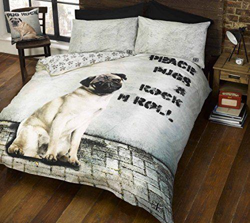 Elinens Pugsy Pug Dog Close Up Face Duvet Cover Quilt Bedding Set