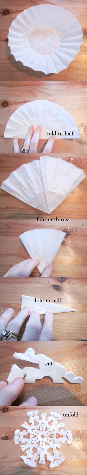 Coffee Filter Snowflakes.. a must for decorating