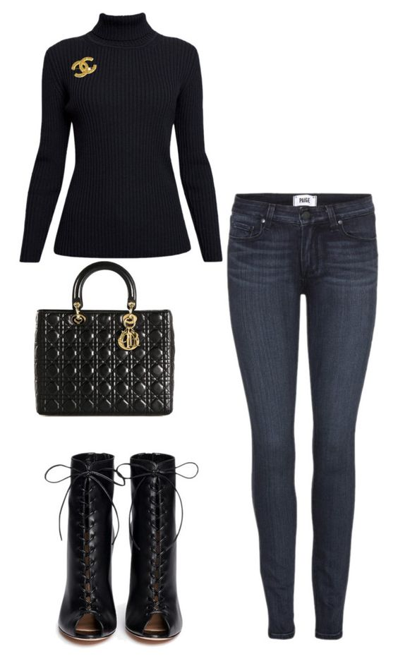 """""""Untitled #37"""" by sexyslimlatoya on Polyvore featuring Rumour London, Paige Denim, Chanel, Gianvito Rossi and Christian Dior"""
