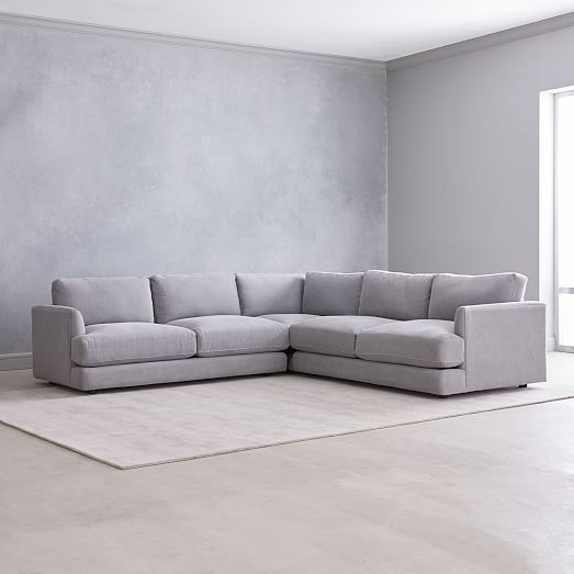 Jackson 2 Piece Chaise Sectional West Elm Marled Microfiber Ash Gray With Images West Elm Living Room Living Room Sofa Living Room Sectional