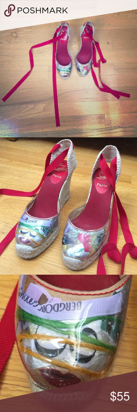 Shoes size 8. Lightly worn on bottom. Shoe size not listed but measure approx size 8. Christian Louboutin. Christian Louboutin Shoes Sandals