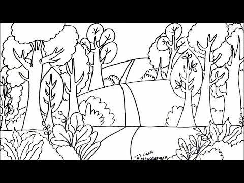 Cara Menggambar Dan Mewarnai Tema Pemandangan Hutan Yang Bagus Dan