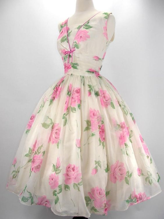 1950's Pink Roses Floaty Floral Party Dress
