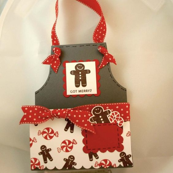 handmade shape card: gingerbread apron - dana newsom ... luv all of the little gingerbread men and the knotted apron ties ...