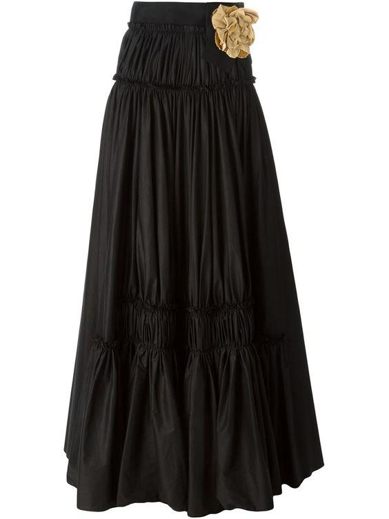Lanvin Contrasting Flower Detail Maxi Skirt - Gente Roma - Farfetch.com