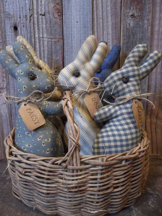 Basket of Bunnies / Start with gingham, add calico, ticking,  .  .  .  .  .  .:
