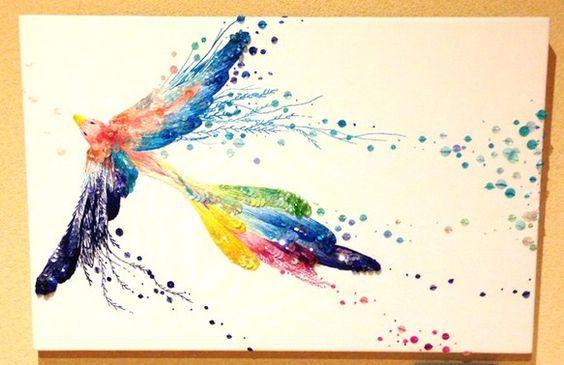 「空を染めよう」SIZE:縦 41cm 横 27.3cm 幅 1.8cm刺繍によるアートパネルです。鳥が羽ばたいている様子です。プッシュピンなどで簡単に壁にか...|ハンドメイド、手作り、手仕事品の通販・販売・購入ならCreema。