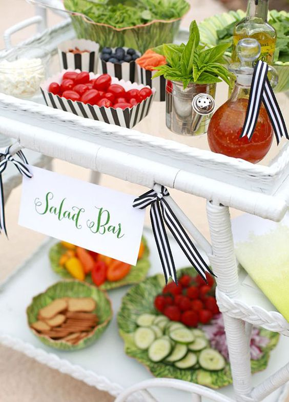 Catering food salad bar and food stations on pinterest for Food bar ideas