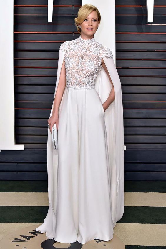 The Wedding Scoop's favorite bridal inspiration from the 2016 #Oscars // Elizabeth Banks in Ralph & Russo cape jumpsuit: