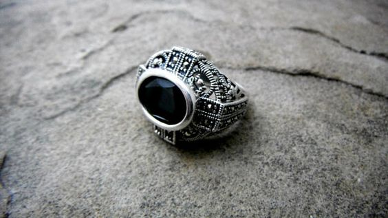 Black Spinel Ring Sterling Silver Filigree Ring by CaravanOfBeads, $200.00