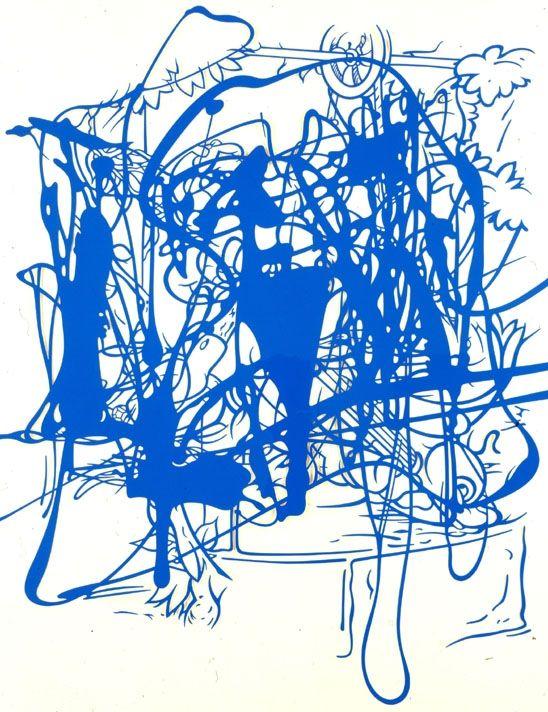 "Arturo Herrera, Night Before Last (2L), 2003, cut painted paper, 52½ x 42½""."