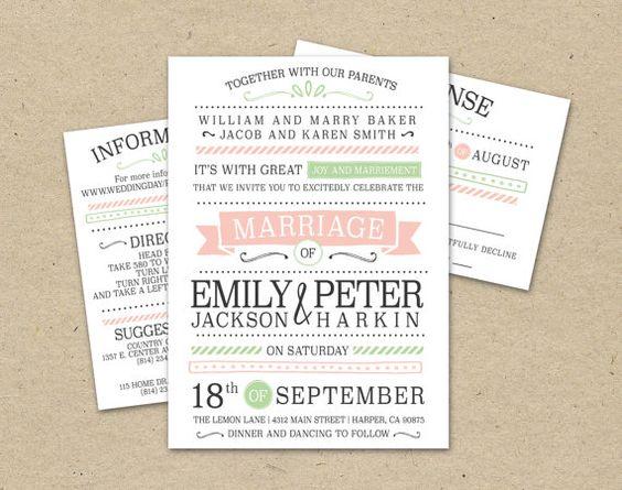Simple Vintage Wedding Invitations: Modern, Pink, Green, Simple