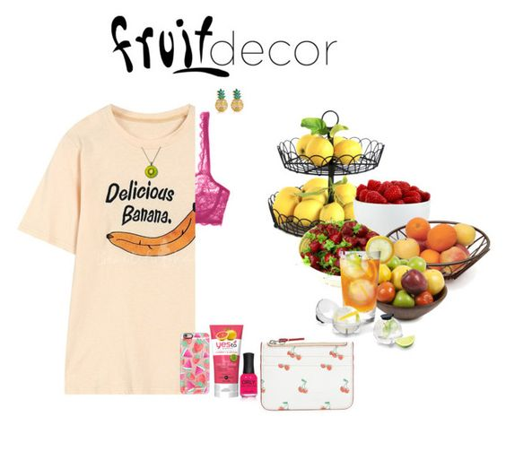 """""""Fruit!"""" by ac-awesome ❤ liked on Polyvore featuring interior, interiors, interior design, home, home decor, interior decorating, The Cellar, Cosabella, MBLife.com and Casetify"""