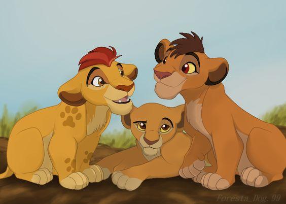 Kiara with her brothers, Kopa and Kion.