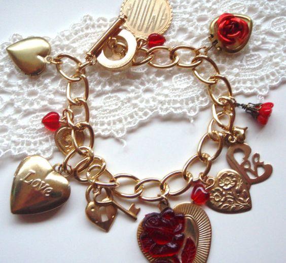 Valentines Charm Bracelet Sweet Heart   by MadisonHoneyVintage, $39.00
