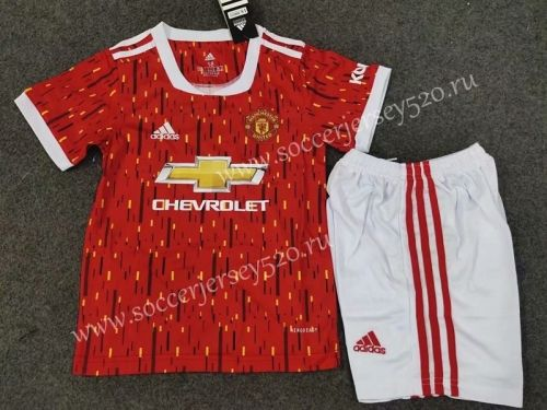 2020 2021 Manchester United Home Red Kids Youth Soccer Uniform In 2020 Manchester United Football Youth Soccer Soccer Uniforms