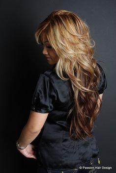 Short layers, long hair
