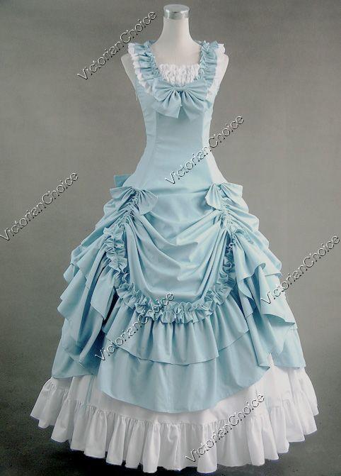 Civil War Southern Belle Lolita Ball Gown Dress Reenactment Halloween Costume Steampunk