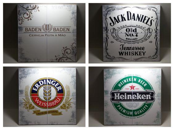 Quadros com estampas diversas sobre marcas de bebidas, imitando azulejo. www.elo7.com.br/decorachados