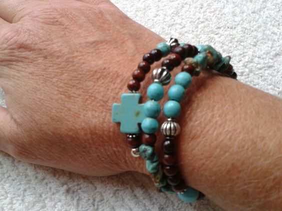 Turquoise and brown memory wire bracelet