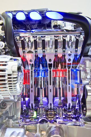 Stock image of 'New engine new car'