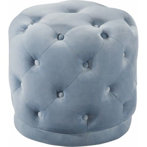 Light Blue Round Velvet Tufted Ottoman Footstool Ottoman Stool