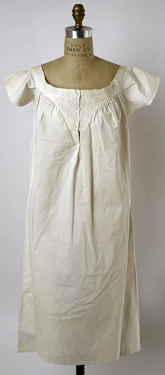 Chemise  Date: ca. 1856 Culture: American Medium: cotton Dimensions: [no dimensions available] Credit Line: Gift of the Misses Dorcas & Katherine Beer, 1941 Accession Number: C.I.41.125.22: